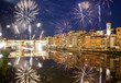 Quadro celebrating New year's eve in Florence, Italy - explosive fireworks around ponte vecchio on river arno