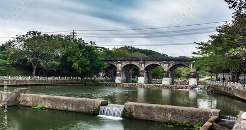 Sticker Hsinchu doan bridge in taiwan timelapse