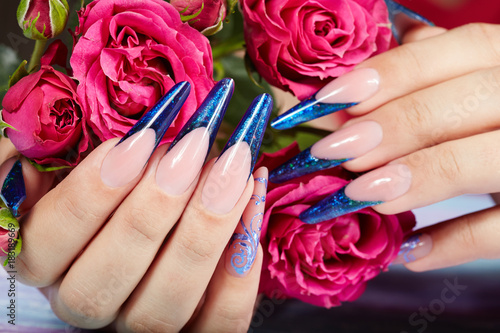 Plexiglas Manicure Hands with long artificial blue french manicured nails and pink rose flowers