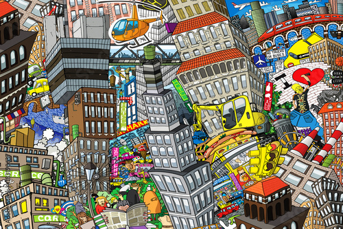 Foto op Plexiglas Graffiti City, an illustration of a large collage, with houses, cars and people