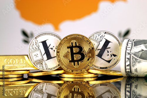 In de dag Cyprus Physical version of Bitcoin, Litecoin, gold, US Dollar and Cyprus Flag. Conceptual image for investors in cryptocurrency, gold and dollars.
