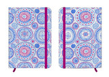 Blue copybook template with elastic band and bookmark with abstract pattern. Australian aboriginal geometric art concentric circles seamless pattern in blue and purple.