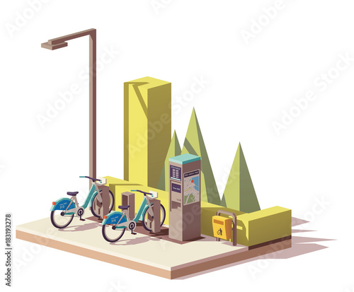 Vector low poly bicycle sharing system