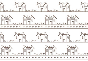 Seamless pattern in scandinavian style. Pattern with house for print on wallpaper, gift paper, textile, paper. Two-color pattern.