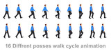 business man walk cycle sprite sheet, Animation frames, silhouette, Loop Animation - 183196009