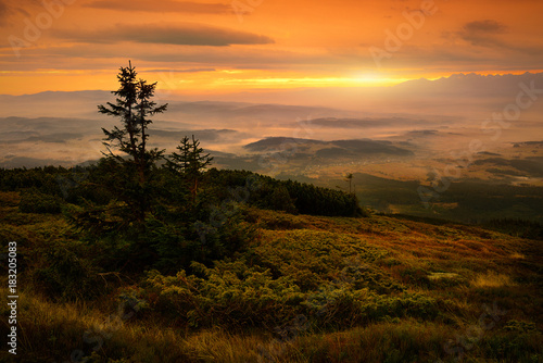 Beautiful view of sunrise at Babia mountain. Poland