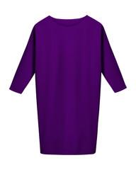 Classic violet office business dress with long sleeves isolated on white