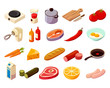 Food Cooking Isometric Icons - 183213263