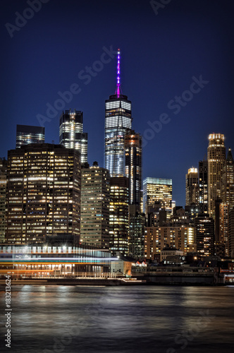 Lower Manhattan at night. Poster