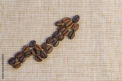 Papiers peints Café en grains Coffee beans are laid out as a graph rising up on a beige napkin.