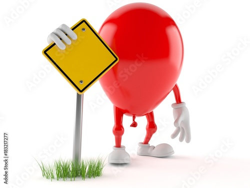 Balloon character with blank road sign