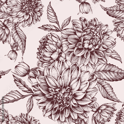 Vector floral seamless pattern with hand drawn dahlias - 183217458