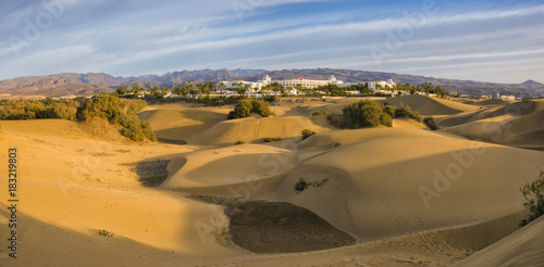 Fototapeta Famous natural park Maspalomas dunes in Gran Canaria at sunrise, Canary island, Spain