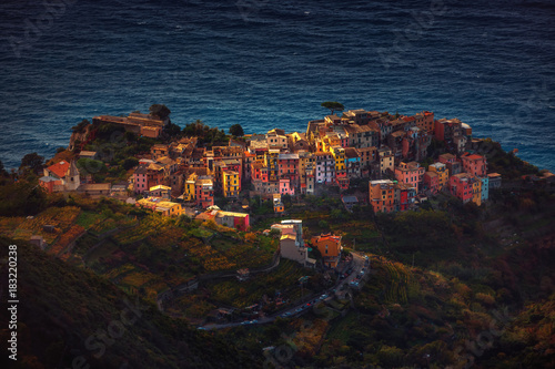 Keuken foto achterwand Liguria Cinque Terre from above , Liguria, Italy, Europe