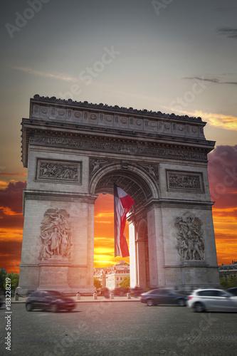 Wall mural triumphal arch on the Champs Elysées