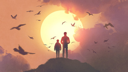 silhouette of father and son standing on the mountain looking at the sun rising in the sky, digital art style, illustration painting © grandfailure