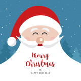 santa claus face smile big beard christmas gretting text card winter landscape night background