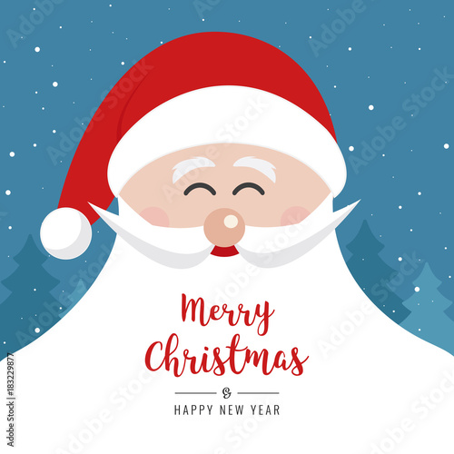 santa claus face smile big beard christmas gretting text card winter landscape night background - 183229877