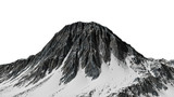 beautiful mountain peak with snow isolated on white background