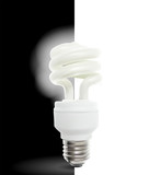 Lighting Powersave lamp on Black and White Background. Vector Illustration. - 183232283