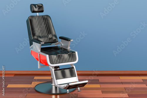 Fototapeta Black Barber Chair in room on the wooden floor, 3D rendering