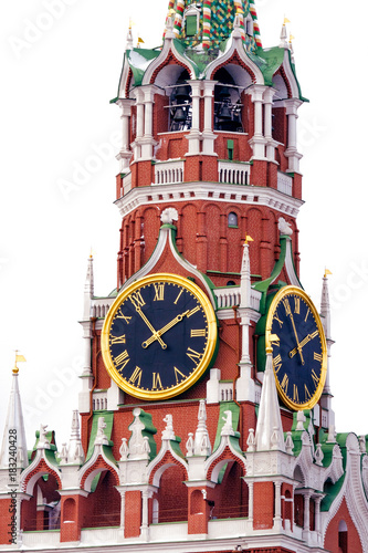 Foto op Canvas Moskou Kremlin chimes in Moscow, Russia. Winter, white background