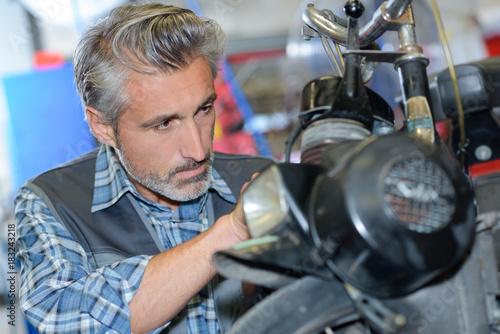 fixing a motorbike