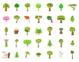Tree icon set, cartoon style - 183244696