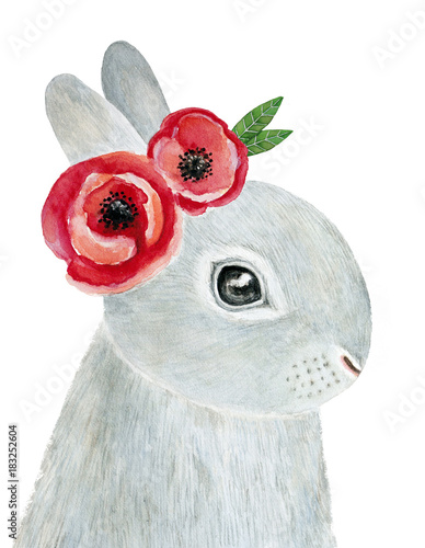 Cute little one bunny portrait with flower wreath. Hand drawn water color illustration, isolated, white background. Springtime, midsummer celebration card, poster, print, decoration. Romance, family.  - 183252604