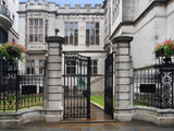 Gates of medieval style mansion, London - 183256260