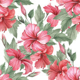 Seamless pattern with hibiscus. Hand draw watercolor illustration - 183260256