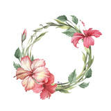 Frame with hibiscus. Hand draw watercolor illustration - 183260269