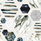 Watercolor hexagon with stripes, water color marble, grained, grunge, paper textures. - 183263873
