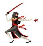 deadly woman ninja throwing star - 183264228