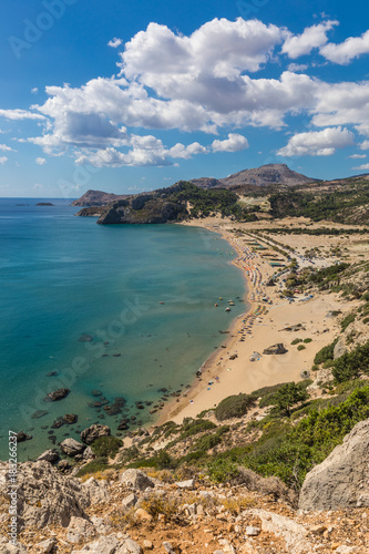 Tuinposter Canyon Stony landscape and a view of the Tsambika beach on the Rhodes Island, Greece