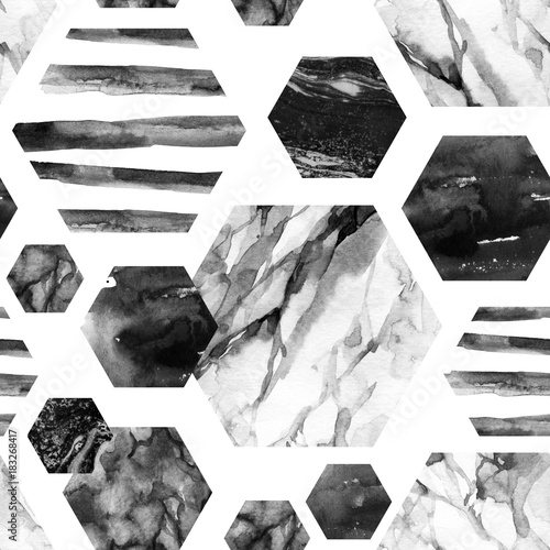Watercolor hexagon with stripes, water color marble, grained, grunge, paper textures. - 183268417