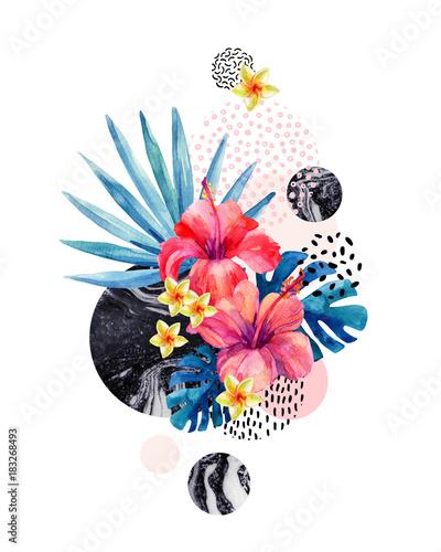 akwarela-tropikalnych-kwiatow-na-geometrycznym-tle-z-marmoryzacja-doodle-tekst