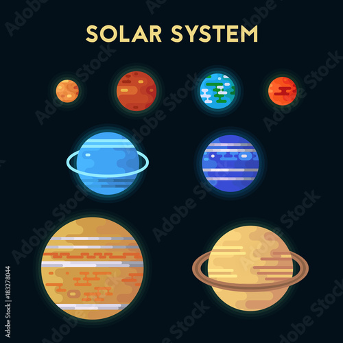 Collection of flat icons solar system.