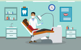 Patient at a reception at the dentist. Vector illustration.