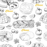 Vector pattern with cheese products - 183281439