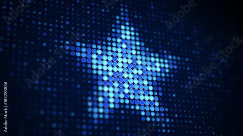 Blue star shape of pixels on screen - 183283836