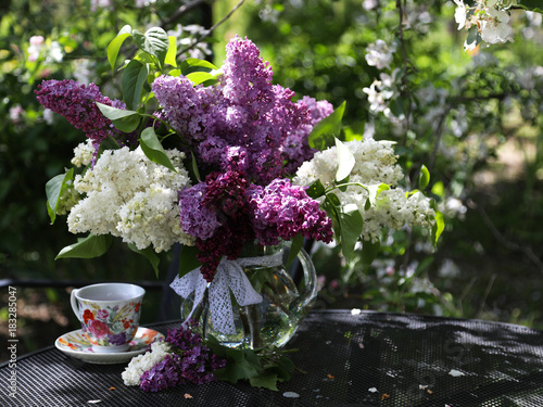 Spring composition of white and purple lilac in a glass jug.
