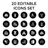 Tower icons. set of 20 editable filled and outline tower icons - 183287421