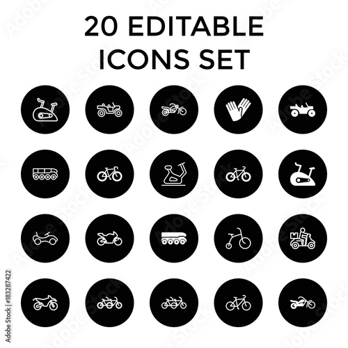 Bike icons. set of 20 editable filled and outline bike icons