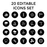 Wind icons. set of 20 editable filled and outline wind icons - 183287642