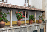 Colonnade Courtyard with Cobblestone Floor and Ornamental Vase - 183287849