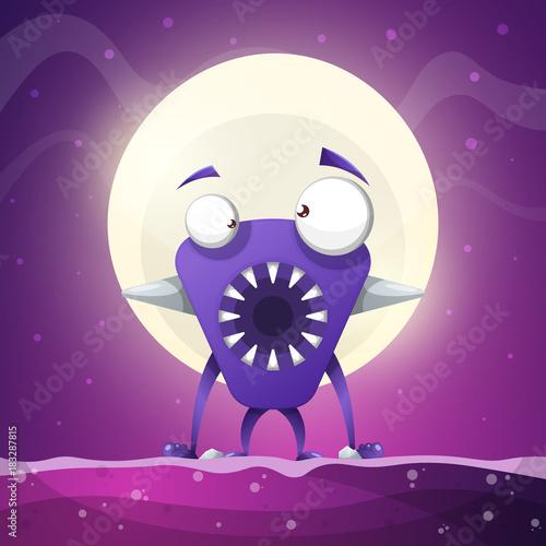 Foto op Canvas Violet Fear, horror, hell cartoon illustration. Monster animals Vector