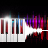 piano keys with waveform & colorful audio level meter. music background - 183288251