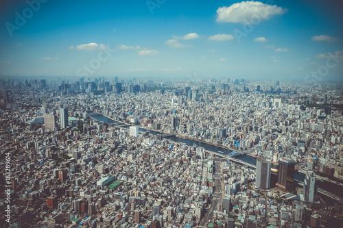 In de dag Tokio Tokyo city skyline aerial view, Japan