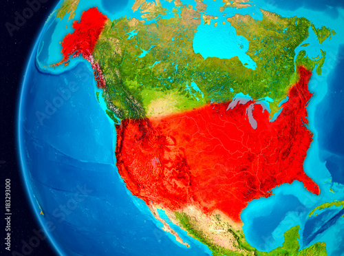 Space view of USA in red